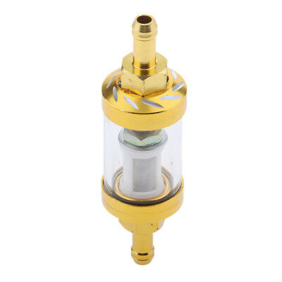 """CNC Aluminum Alloy 8mm 5/16"""" Motorcycle Universal Oil Gas Fuel Filter Gold"""