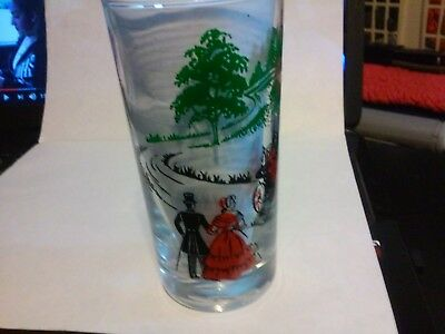 Vtg. Drinking Glass Horse Drawn Carriage Farm Scene Nice