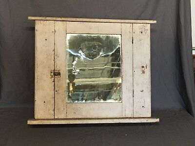 Antique Medicine Cabinet Wood Recessed Cupboard Old Vtg 277-18E