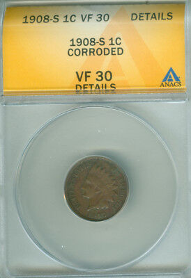 1908-S Indian Cent Anacs Vf 30 Details (1824570)