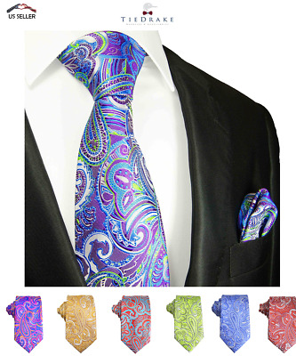 Paisley Men's Tie and Pocket Square Set by Paul Malone