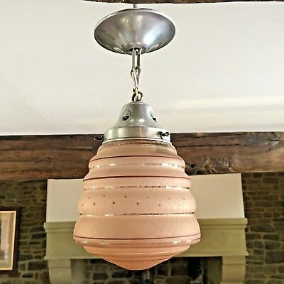 Art Deco Pendant Ceiling Light French Glass Lamp Shade With Original Gallery