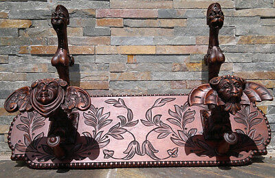 "19thC Antique French Carved Baroque Gothic Coat Rack with Grotesques 27"" Across"