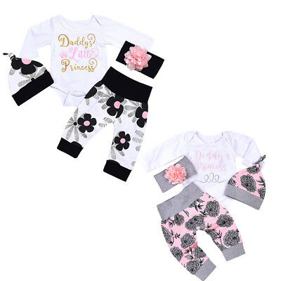 Baby Girl Outfits Daddy's Princess Romper+ Floral Pants Headband Hat 4pcs Set