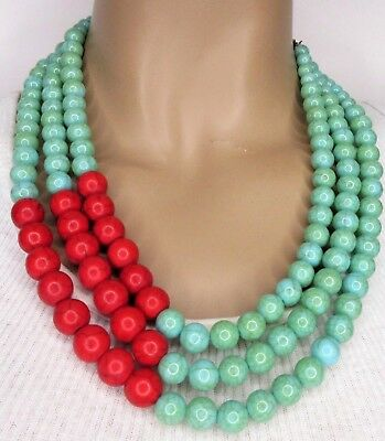 Amazing Turquoise & Red Coral Matrix Resin Bead Statement Necklace!