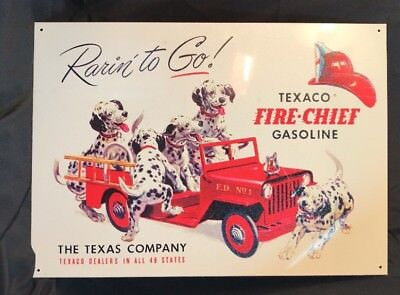 """Texaco Fire Chief Gas Dalmatian Dogs Repro Metal Sign 16x11.5"""" NEW MD0315036"""