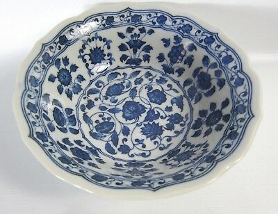 Ming Style Blue White Painted Lotus Porcelain Charger Plate