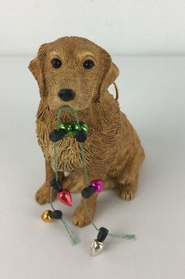 GOLDEN RETRIEVER dog HAND PAINTED FIGURINE ORNAMENT Resin Christmas   #2