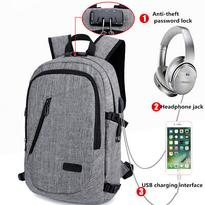 Waterproof Anti-Theft Travel Business Laptop Backpack Rucksack Bag with USB Port