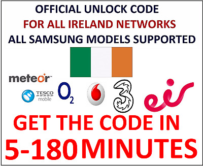 Unlock Code For Samsung Galaxy S9 Plus S9 S8 Plus S8 EIR METEOR VODAFONE IRELAND