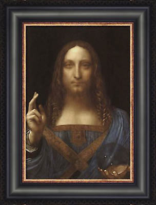 Leonardo DaVinci Salvator Mundi Custom Framed Giclee Canvas Art Print NEW