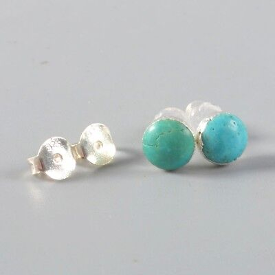 925 Sterling Silver 6mm Round Natural Genuine Turquoise Stud Earrings B053703