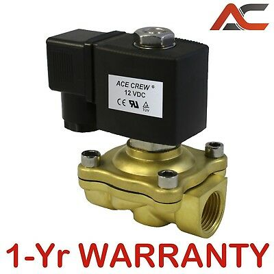 VITON 1/2 inch 12V DC VDC Brass Solenoid Valve NPT Gas Water Air Normally Closed