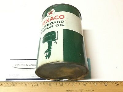 Vintage Texaco Outboard Motor Oil Tin Can Still FULL 1 Qt Advertising Tin