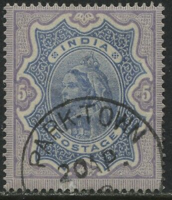 India 1895 QV 5 rupees used