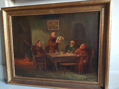 Large Antique Signed framed Original Oil Painting On Canvas 19thC tavern monks