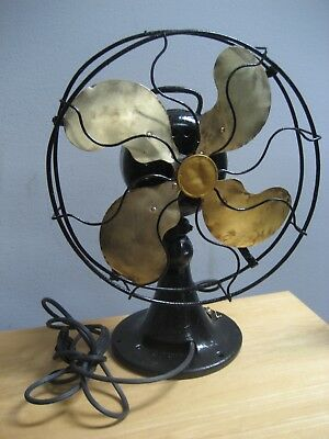 Antique Emerson 27646 12 Inch Brass Blade Fan Runs As Is Won'T Rotate