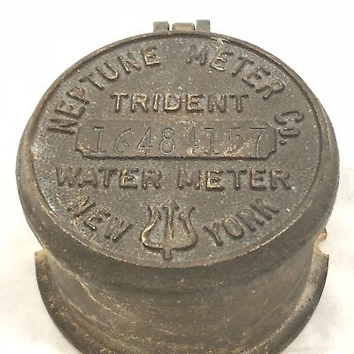 Vintage Brass Neptune Trident Water Meter Cover, New York, NY Collectible