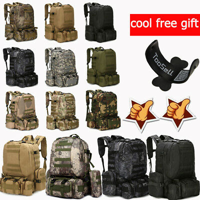 55L Molle Outdoor Military Tactical Bag Camping Hike Trekking Backpack Rucksack