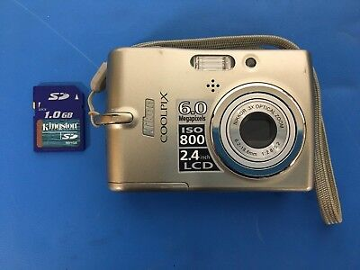 Nikon Coolpix L11 6.0 MP Digital Camera with 1GB card TESTED FREE SHIPPING