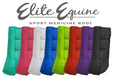 Showman LARGE WHITE Pair of Elite Equine Sport Medicine Boots! NEW HORSE TACK!!