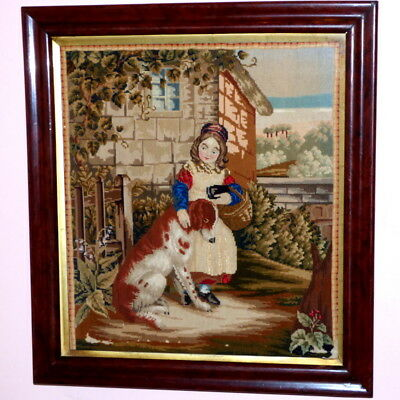 Victorian Mid-19th Century Woolwork of a Child and Large Dog