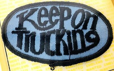"""Vintage CB Radio Embroidered Patch """"Keep On Trucking"""" Retro 1970's Trucker Lingo"""
