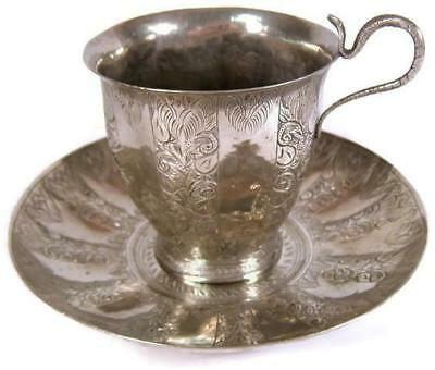 Antique Indian Silver Chased Cobra Snake Handle Cup & Saucer Islamic Influence