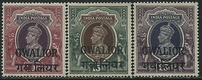 India KGVI 10 to 25 rupees overprinted Gwalior mint o.g.