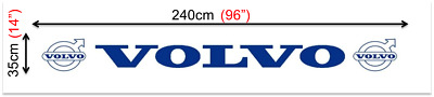 Mud Flap VOLVO Trailer Truck Rear Long 240x35cm Smooth White with Blue Logo