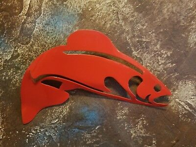 Fish Metal wall art Red finish- outdoor wildlife camping fishing home decor