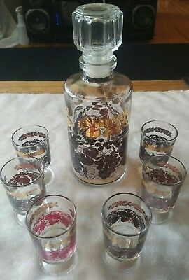 Vintage Luminare decanter and full set of glasses D'arques France