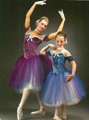 Cameo BLUE Dance Costume Romantic Ballet Tutu with Drop Sleeves Adult Large New