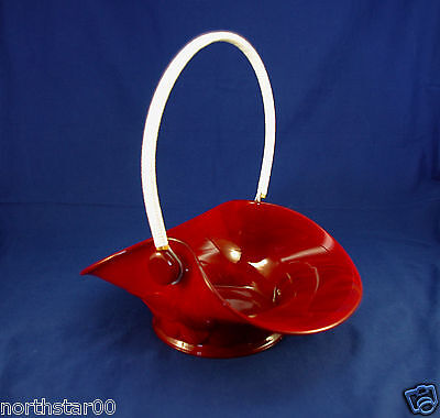 Rare Fenton Basket, Big Cookies 1681, Mandarin Red Slag Glass, Only Made 1933-35