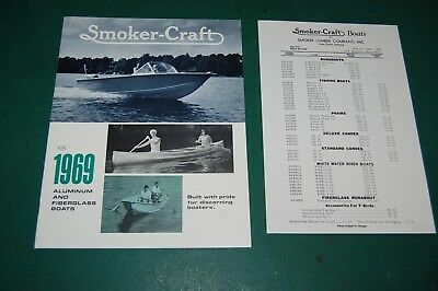 Vintage 1969 Smoker Craft Boat Canoe Brochure Dealer Catalog with price list
