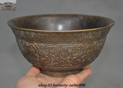 Chinese Ancient Dynasty Palace Pure Bronze Copper peony flower Bowls Cup Bowl