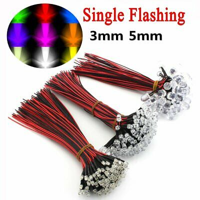 DC 12V 3mm 5mm 10mm Pre Wired Single Colour Flashing LED Light Emitting Diode