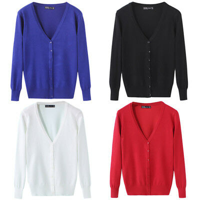 New Women Fashion V-neck Loose Long Sleeve Cardigan Button Autumn Lady Outwear