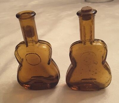 """2 TINY 2 3/4""""TALL MINIATURE AMBER GUITAR FIGURAL BOTTLEs WITH STRINGS & Frets"""