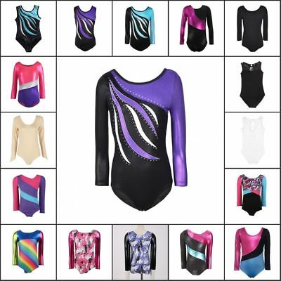 3-14Y Kid Girls Shiny Ballet Dancewear Gymnastics Leotards Athletic Tank Suit US