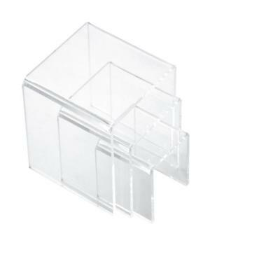 """3,4,5 Inch Square Acrylic 1/8"""" Riser Display Stands Showcase Set, Clear"""