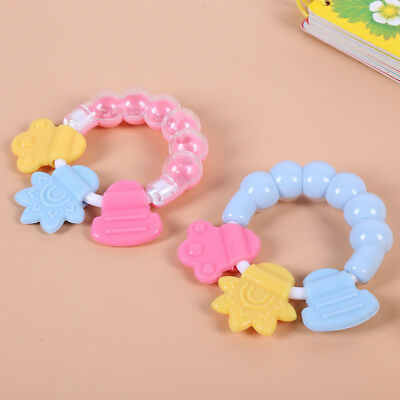 Baby Rattle Teether Toy Silicone Handbell Toddler Infant Teething Ring Bell Gift