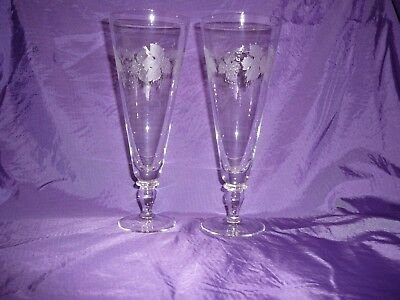 Bohemia Glasses Flutes Bubbly Large Etched x 2 Gift Celebration Champagne