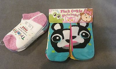 NWT girls kids socks kohls. 11 pairs. shoe size 9-2.5 youth orig. $21.00 total