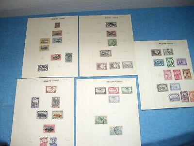 Belgium congo collection stamps on stamp album pages 1887  -  1941