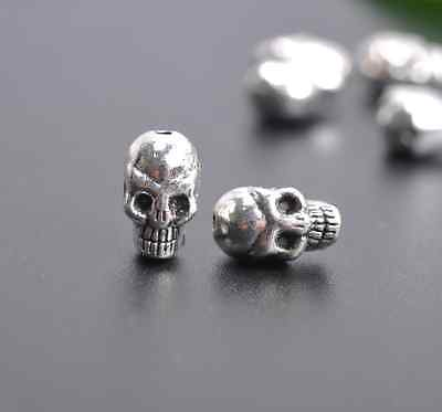 20/100Pcs Tibetan Silver skull charms Spacer Beads Jewelry Findings 10X6MM X41
