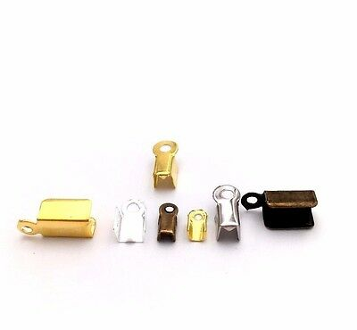 Fold Over Crimp Clamp Clip Loop Bead Cord End Tip Cap Connector Jewelry Finding