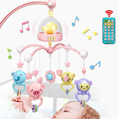 Baby Crib Mobile Bed Bell With Controller Music Night Light Newborn Hanging Toy
