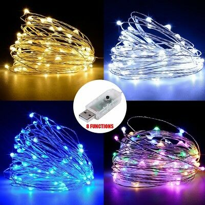 50/100 LED String Copper Wire Fairy Lights USB Xmas Party Fairy Decor Lamp 5/10M