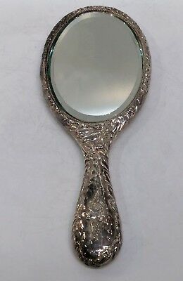 Antique English Silver Mirror, Reynolds' Angels, William Davenport, B'Ham 1905
